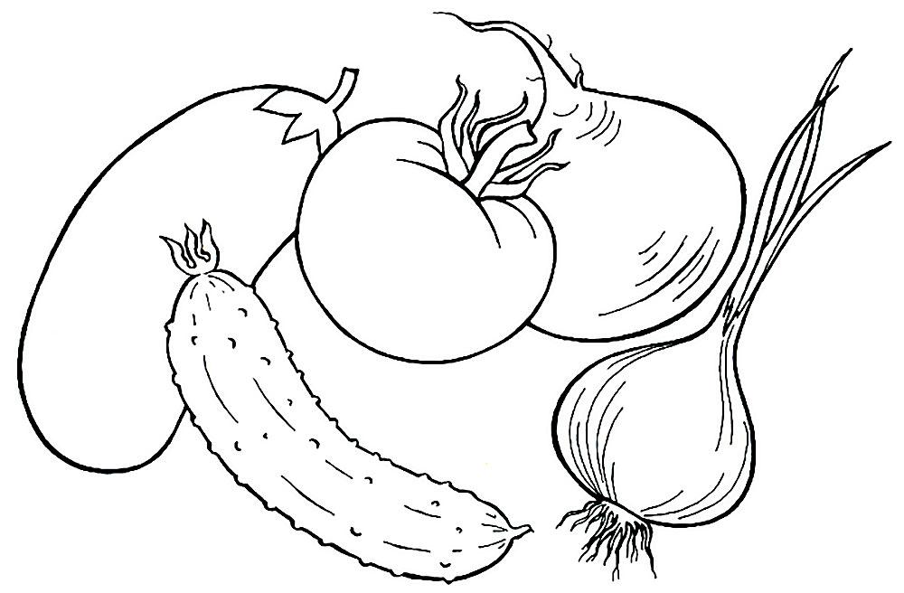 Раскраска про овощи