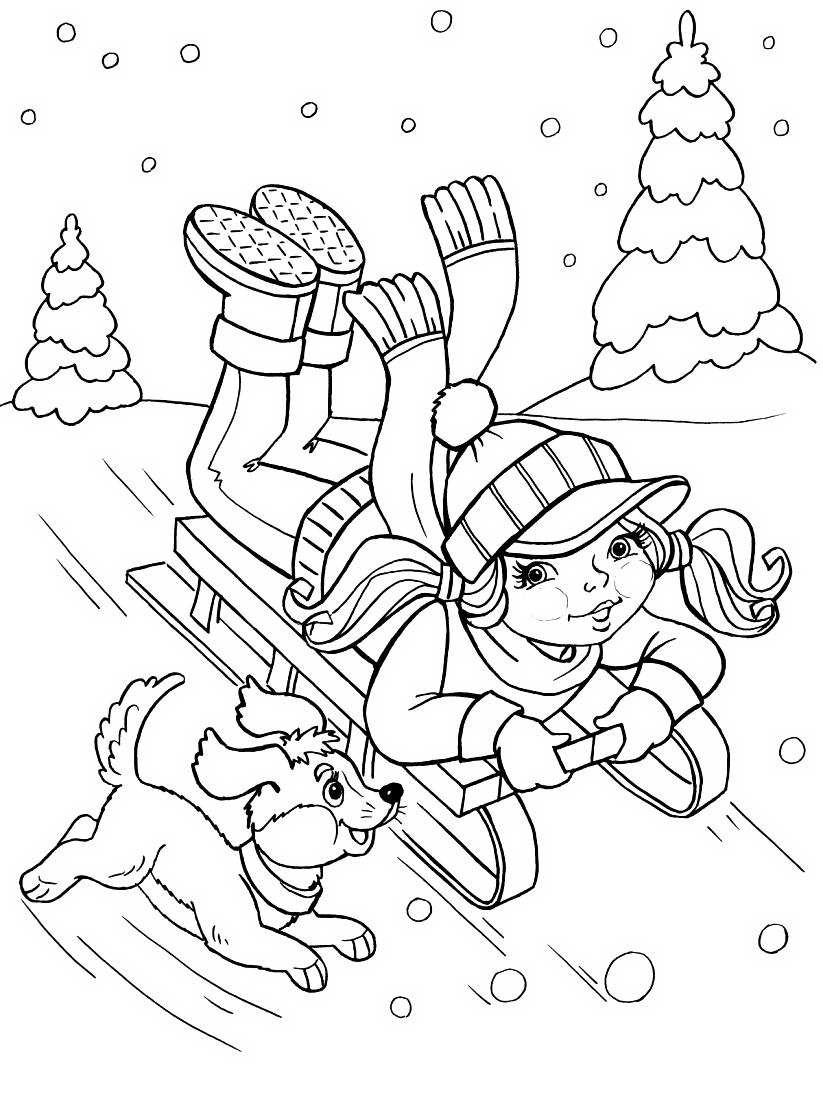 картинки раскраски на тему зимние забавы использовании