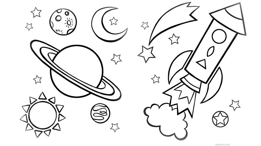 картинки раскраски о космосе свое время