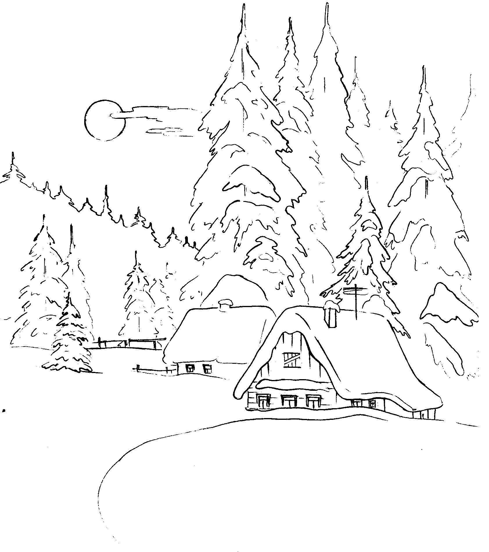 Картинки раскраски про любовь и зиму